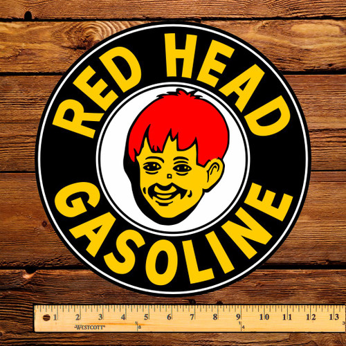 "Red Head Gasoline (Black) 12"" Pump Decal"