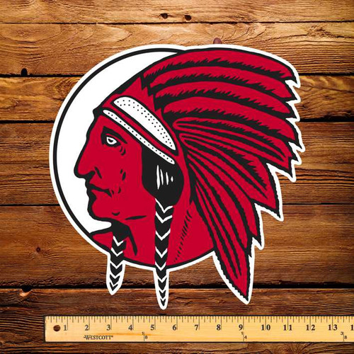 "Red Indian Die Cut (Early) 11.5"" x 12"" Pump Decal"