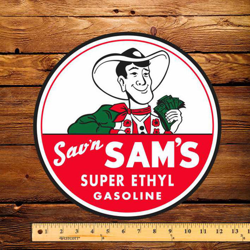 "Sav'n Sam's Gasoline 12"" Pump Decal"