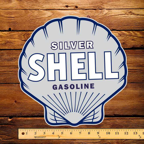 "Shell Silver Shell Gasoline 12"" Pump Decal"