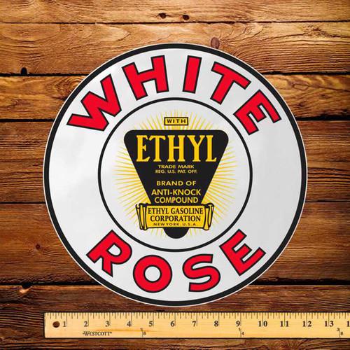 """White Rose Ethyl Pump 12"""" Decal"""