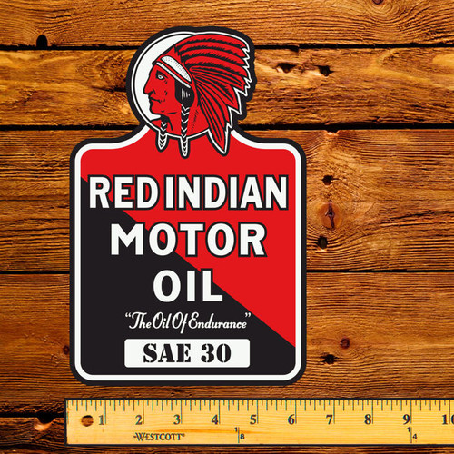 "Red Indian Motor Oil (Early) 6"" x 9"" Lubester Decal"
