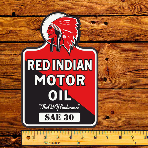 """Red Indian Motor Oil (Late) 6"""" x 9"""" Lubester Decal"""