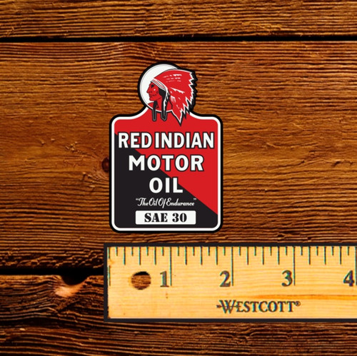 "Red Indian Motor Oil (Late) 2.5"" Oil Bottle Decal"