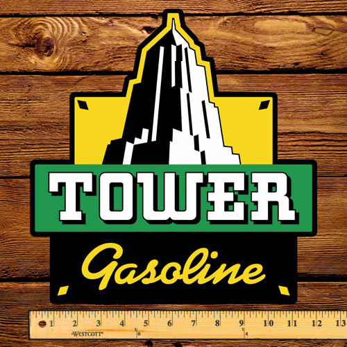 "Tower Gasoline 12"" Gas Pump Decal"