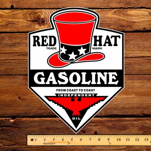 """Red Hat Gasoline 12"""" Gas Pump Decal"""
