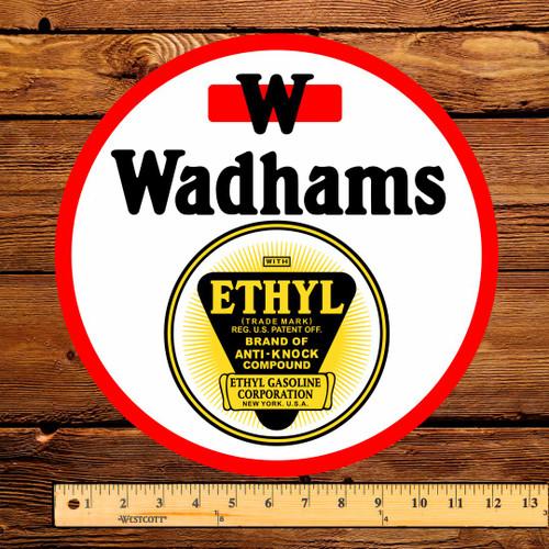 """Wadhams Ethyl Gasoline 12"""" Pump Decal"""