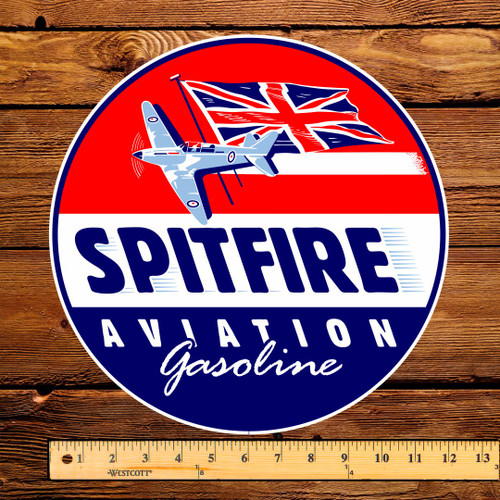"Spitfire Aviation Gasoline 12"" Pump Decal"