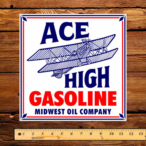 """Midwest ACE HIGH 11"""" Gas Pump Decal"""