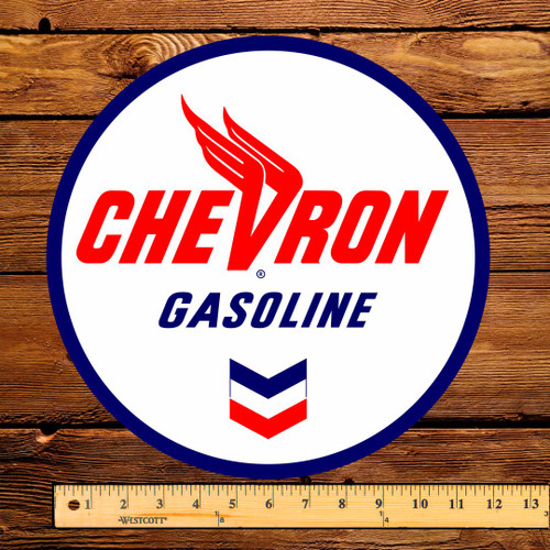 "Chevron Gasoline 12"" Pump Decal"