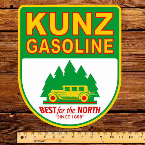 "Kunz Gasoline 12"" Pump Decal"