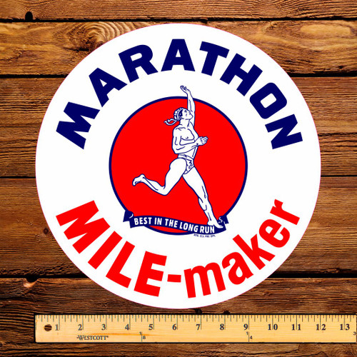 "Marathon Mile Maker Gasoline 12"" Gas Pump Decal"