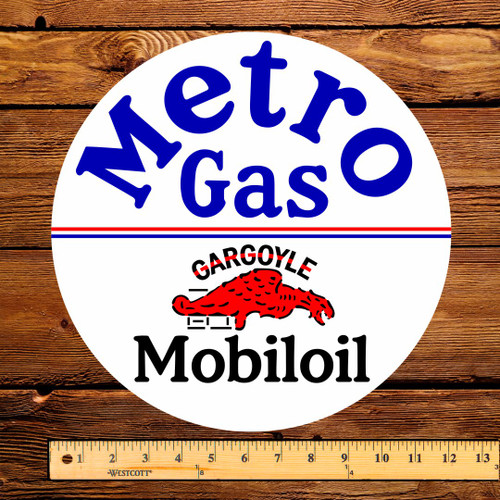 "Mobil Metro Mobiloil 12"" Gas Pump Decal"