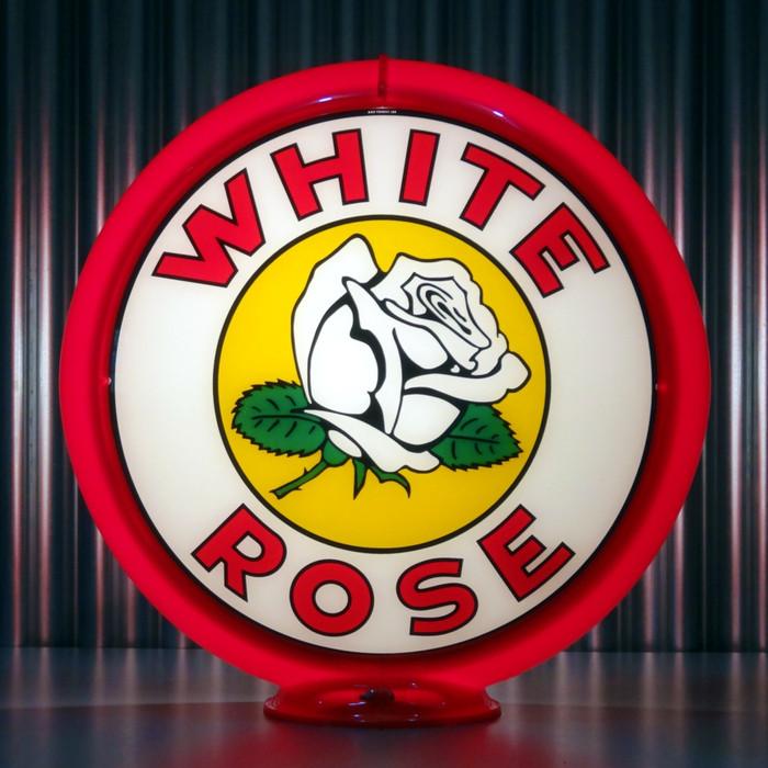 """13.5/"""" Gas Globe Lenses Made by Pogo/'s Garage White Rose ETHYL Gasoline"""