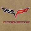 C6 Logo, Red Lettering, Beige Background