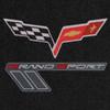 C6 & Grand Sport Logo Silver Lettering on Ebony Mat