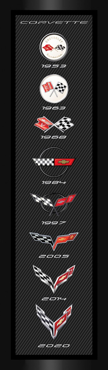 Corvette Generations Vertical Framed Canvas Picture