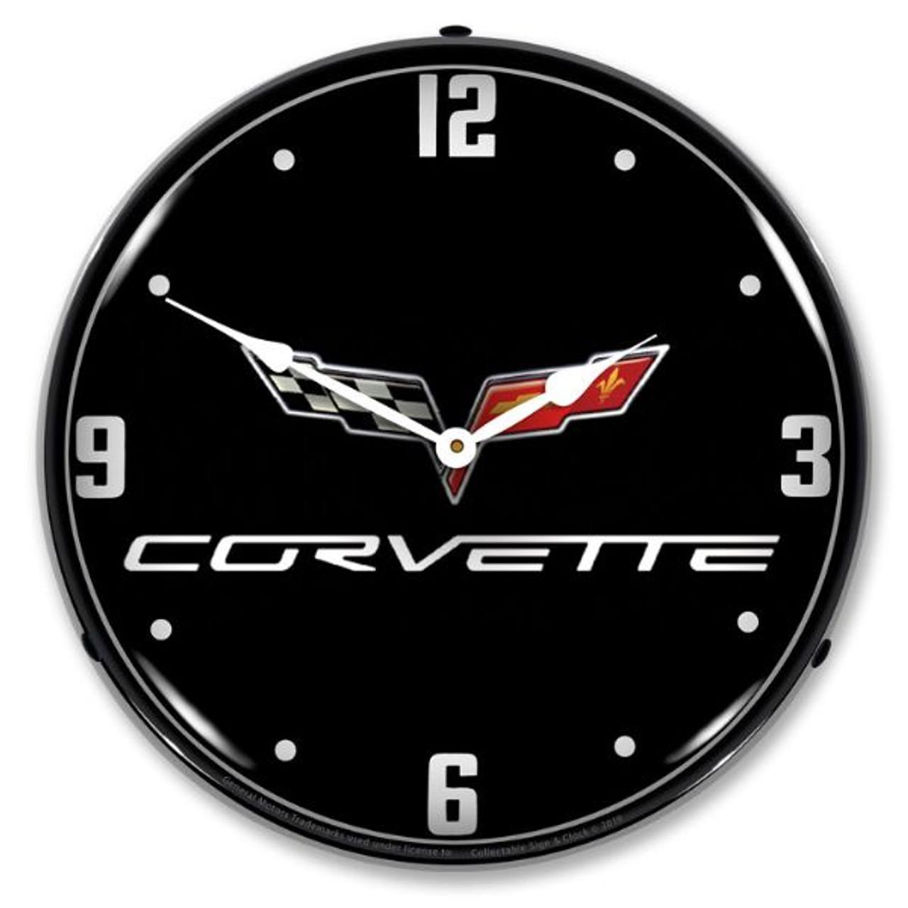 C6 Corvette Black Tie LED Backlit Clock