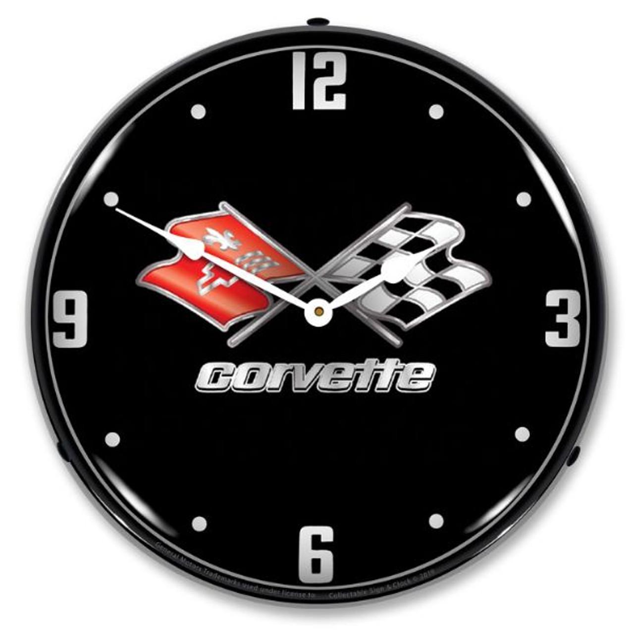 C3 Corvette Black Tie LED Backlit Clock
