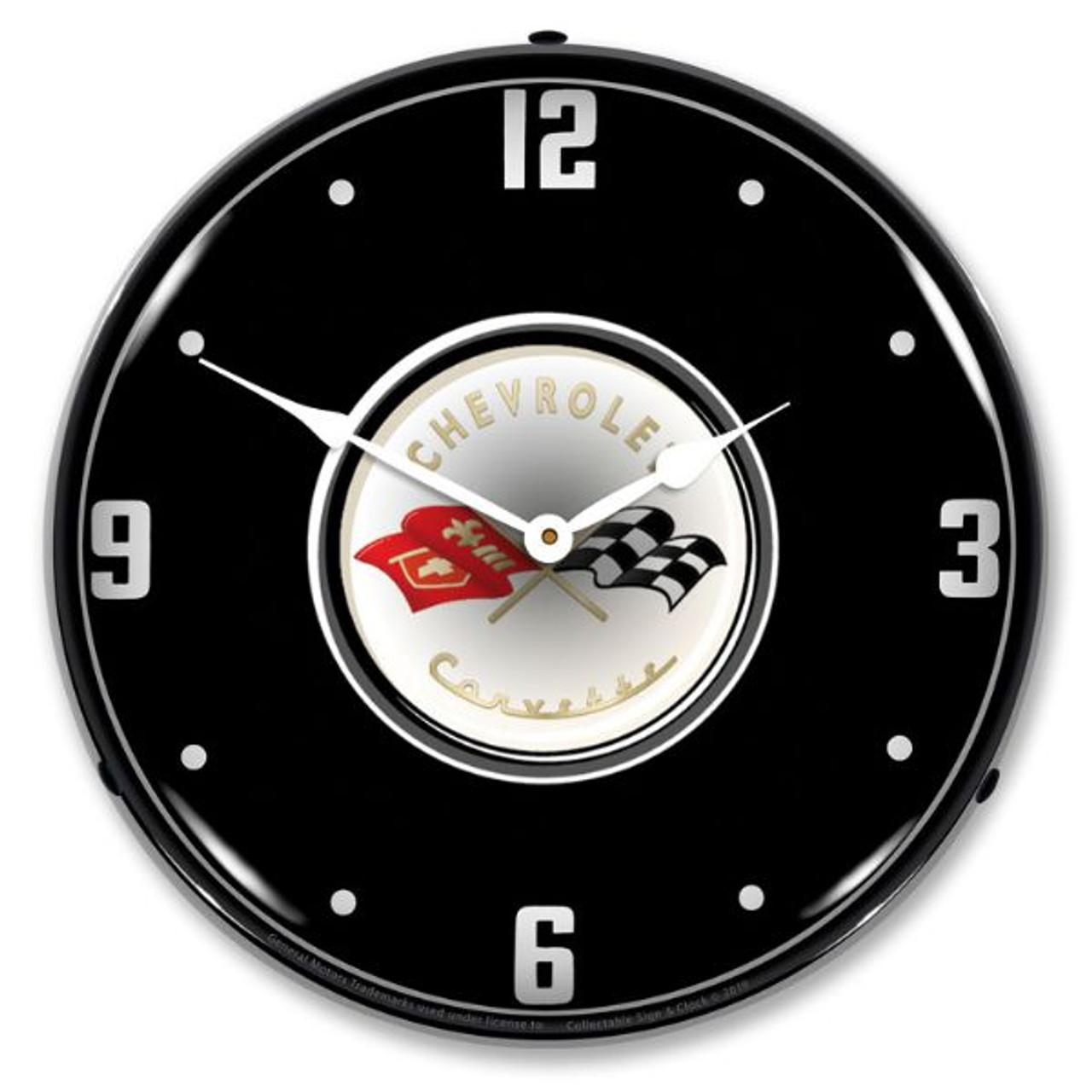 C1 Corvette Black Tie LED Backlit Clock