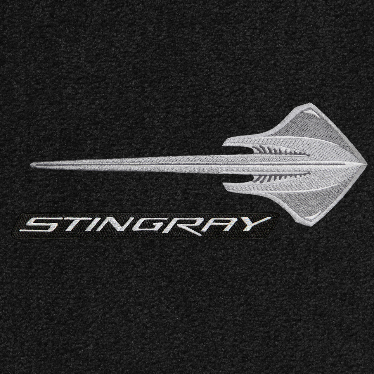 C7 Silver Stingray w/ Silver Stingray Lettering, Ebony Mat