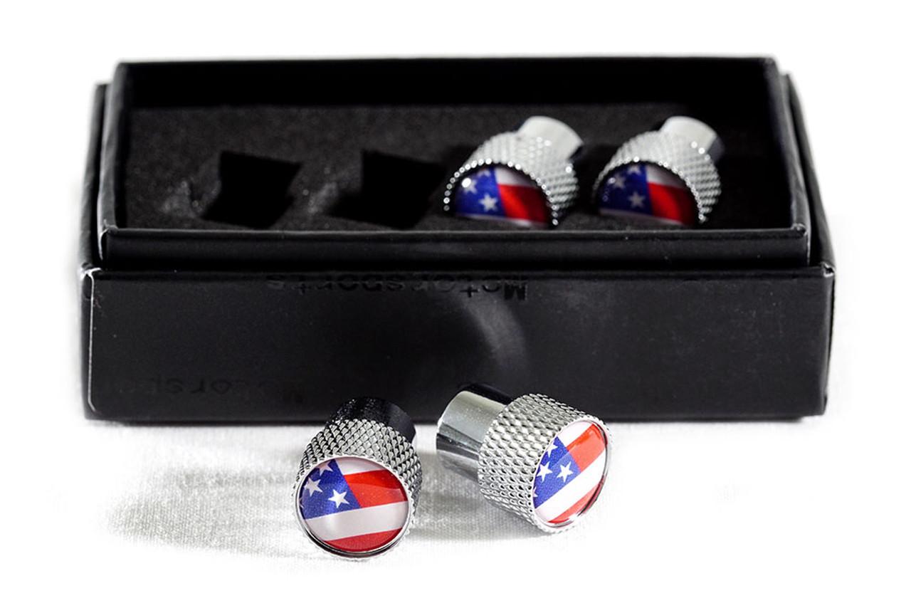 American Flag Valve Stem Caps (knurled)