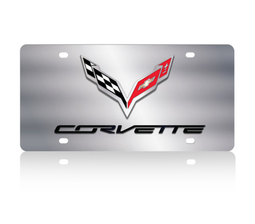 1984-1996 Corvette Stainless Steel License Plate with C4 Logo.
