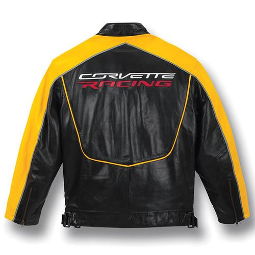 C7 Corvette Racing Black/Yellow Lambskin Bomber Jacket back