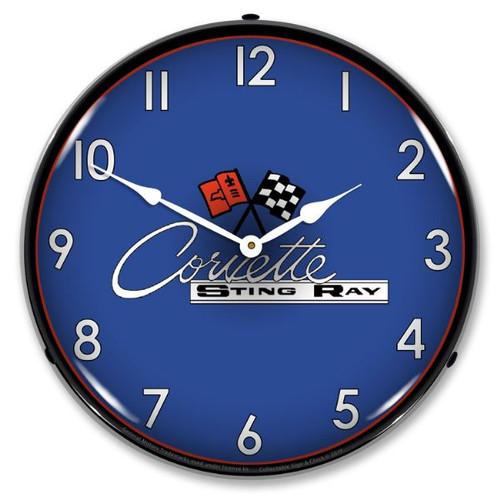 C2 Corvette Sting Ray LED Backlit Clock