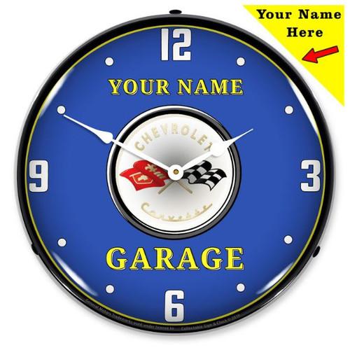 Custom Add Your Name C1 Corvette LED Backlit Clock
