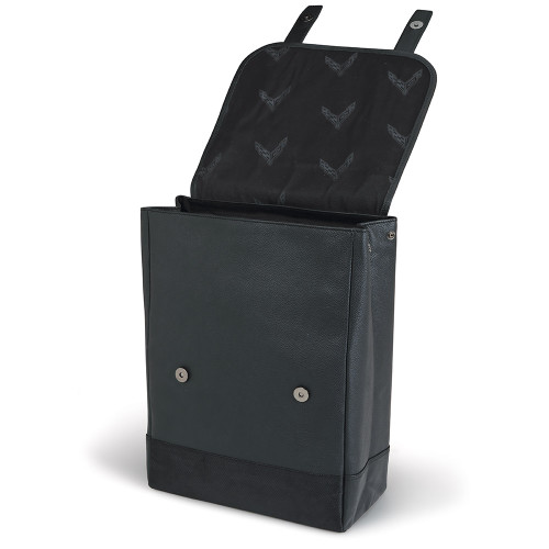 C8 Corvette Black Leather Back Pack (open)