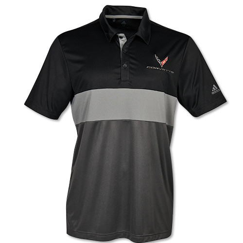 C8 Corvette Adidas Black/Gray Sport Polo Shirt  (black)