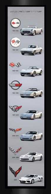 Corvette Generations Wide Vertical Framed Printed Canvas