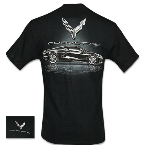 C8 Corvette Metallic Tonal Black T-Shirt