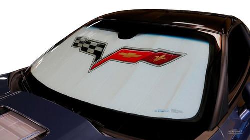2005-2013 C6 Corvette Foldable Bubble Sun Shade (in car - alt)
