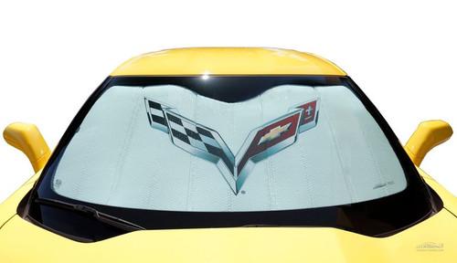 C7 2014-2019 Corvette Foldable Bubble Sun Shade (in car - alt)