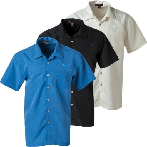 C7 Corvette Camp Shirts - Blue, Black & Cream