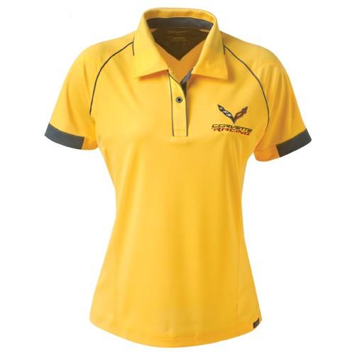Ladies C7 Corvette Racing Yellow Polo Shirt