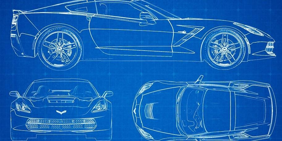 C7 Corvette Blue Print Art Work