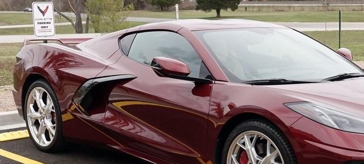 New C8 Corvette in Long Beach Red