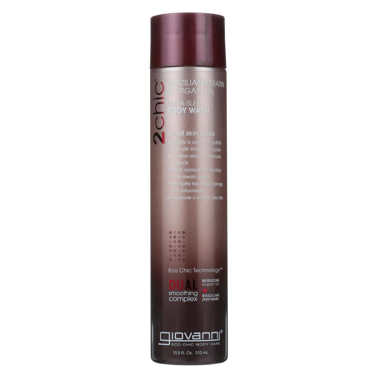 6a594056ec50 Giovanni Hair Care Products 2chic U-sleek Body Wash - Brazilian Keratin &  Argan Oil - 10.5 Fl Oz