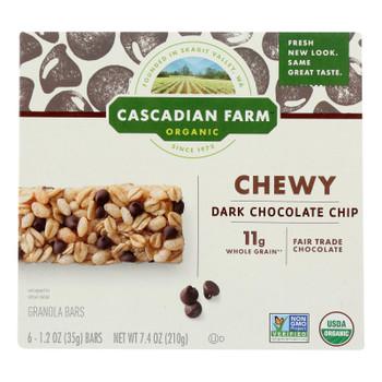 Cascadian Farm Granola Bar - Organic - Chewy - Chocolate Chip - 7.4 Oz - Case Of 12
