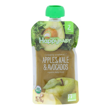Happy Baby Happy Baby Clearly Crafted - Apples, Kale And Avocados - Case Of 16 - 4 Oz.