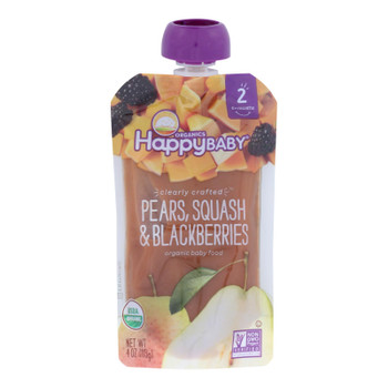 Happy Baby Happy Baby Clearly Crafted - Pears Squash And Blackberries - Case Of 16 - 4 Oz.