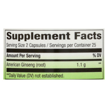 Nature's Way - American Ginseng Root - 50 Capsules