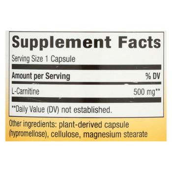 Nature's Way - L-carnitine - 500 Mg - 60 Vegetarian Capsules