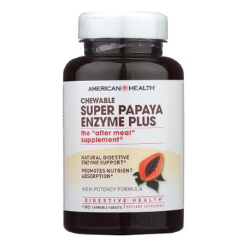 American Health - Super Papaya Enzyme Plus Chewable - 180 Chewable Tablets