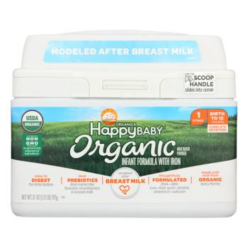 Happy Baby Organic Infant Milk Based Formula Powder - With Iron - Case Of 4 - 21 Oz