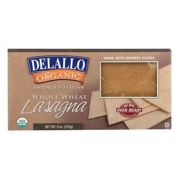 Delallo - Organic Whole Wheat Lasagna Pasta - Case Of 12 - 9 Oz.