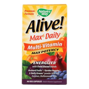 Nature's Way - Alive! Max6 Daily Multi-vitamin - Max Potency - 90 Veg Capsules